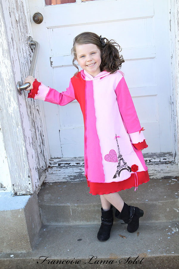 Girl's unique valentine paris eiffel tower pink red pixie hood jersey dress From Paris With Love