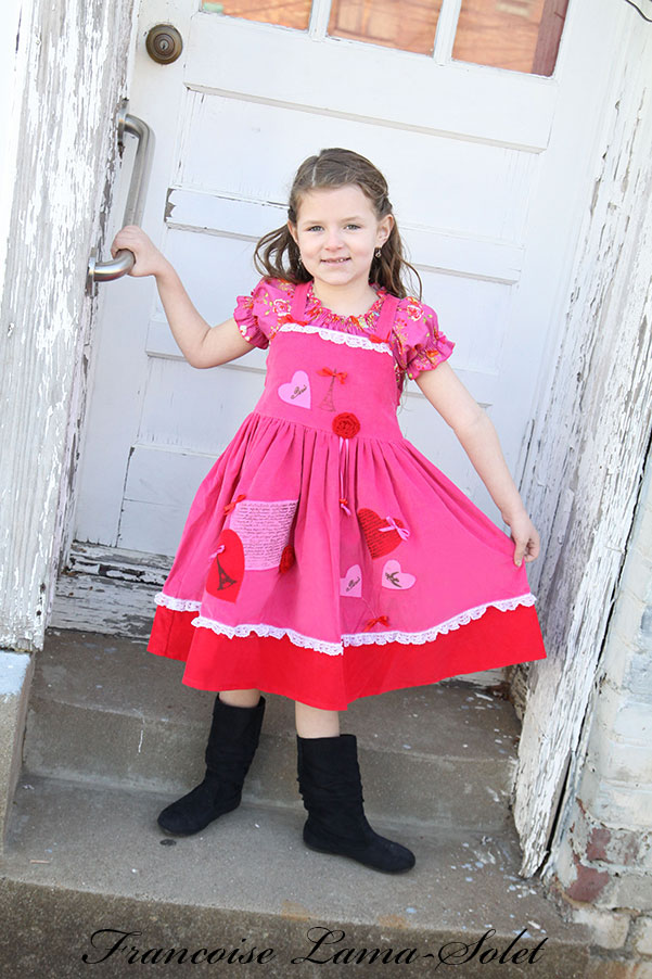 Girl's unique valentine paris eiffel tower pink red corduroy apron twirl dress birthday party dress From Paris With Love