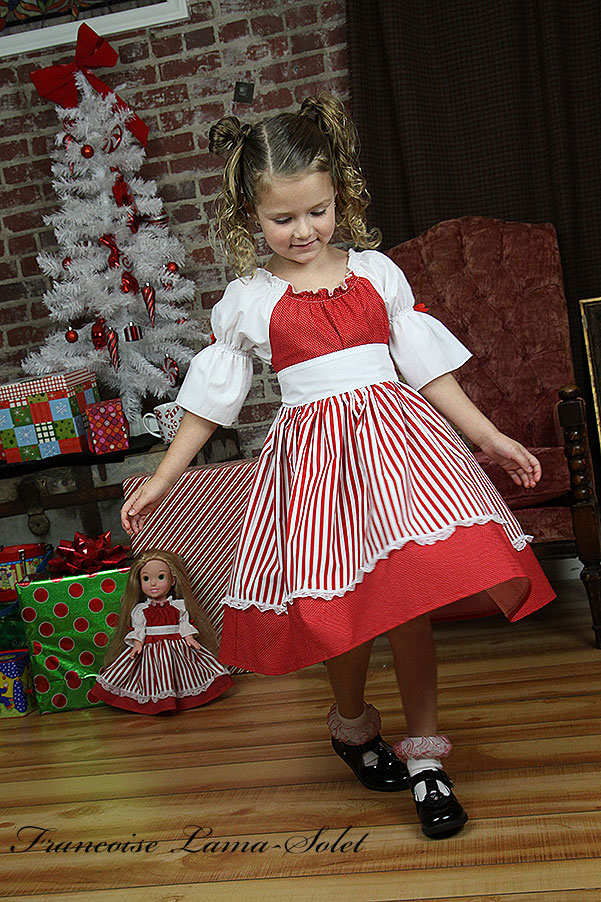 Girl's red white polka dot stripes Christmas Valentine 4th of July peasant dress Peppermint Wonder
