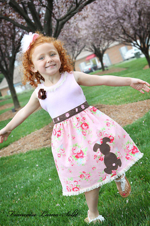 Girl's Easter spring summer pink floral applique bunny cotton jersey tank dress