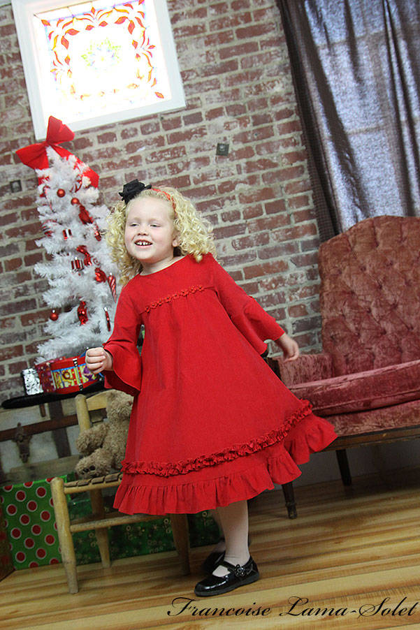 Girl's retro vintage Christmas Holiday Valentine flower girl long sleeve twirl dress Red Ruby