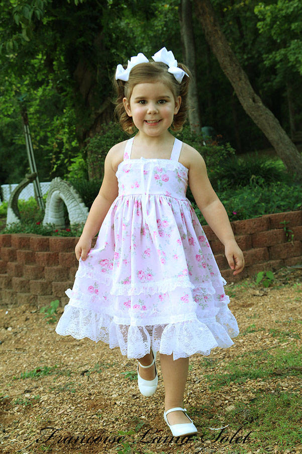 Flower girl birthday tea party shabby chic lace trimmed sister floral dress Romantic Roses Pink