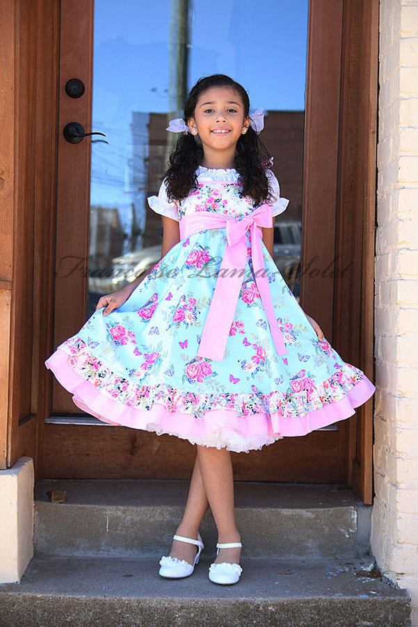 Girls blue pink floral dress with butterflies and birds Easter birthday tea party tween girl dress Rose Garden