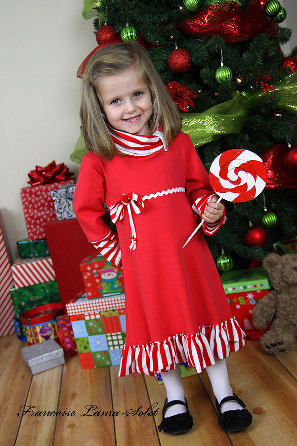 Girl's Holiday Christmas red peppermint long sleeve jersey dress Sassy Mint