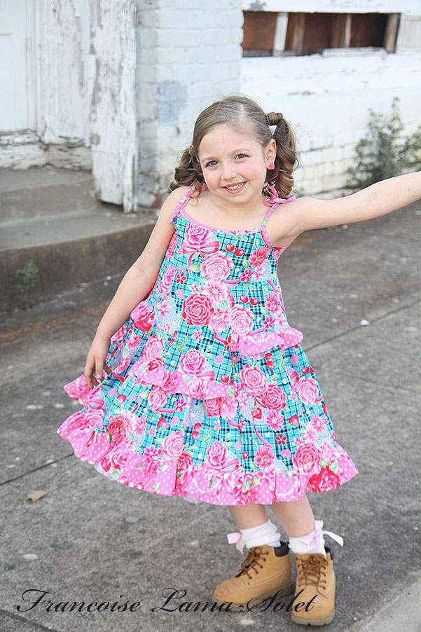 Girl's spring summer blue plaid floral ruffled twirl sundress Scottish Roses