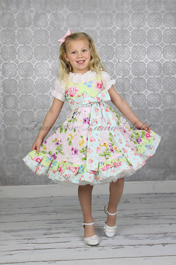 Girls pink blue green floral pastel dress with birds Easter birthday tea party tween girl dress Songbird