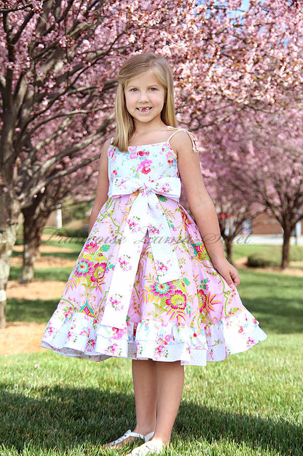 Girl's Pink floral Easter dress birthday twirl dress Romantic spring summer ruffled sundress Spring Flower