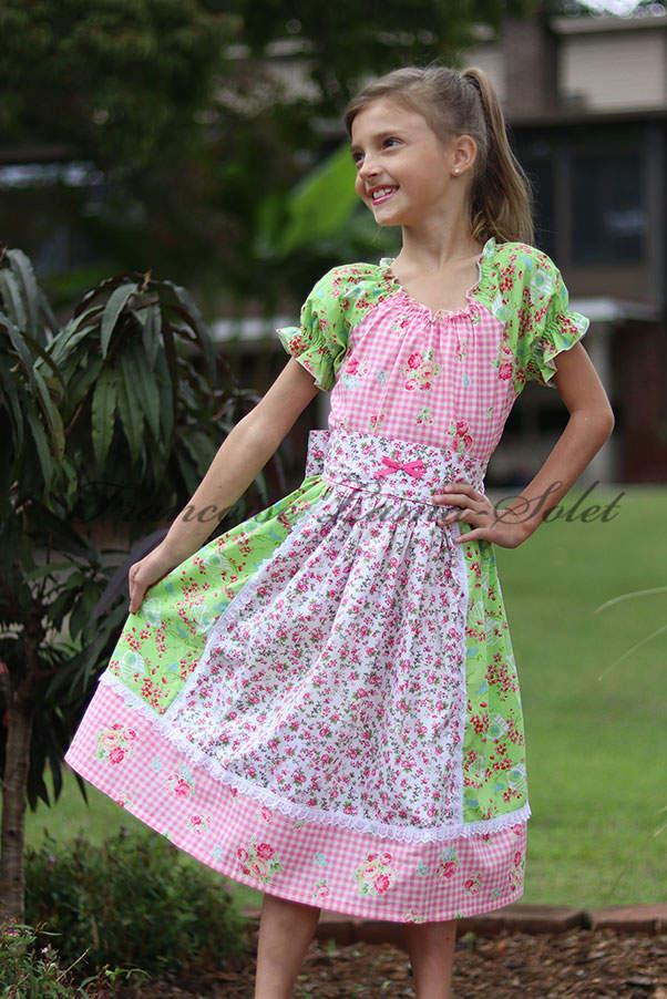 Girl's casual everyday dress colorful short sleeve patchwork peasant dress Spring