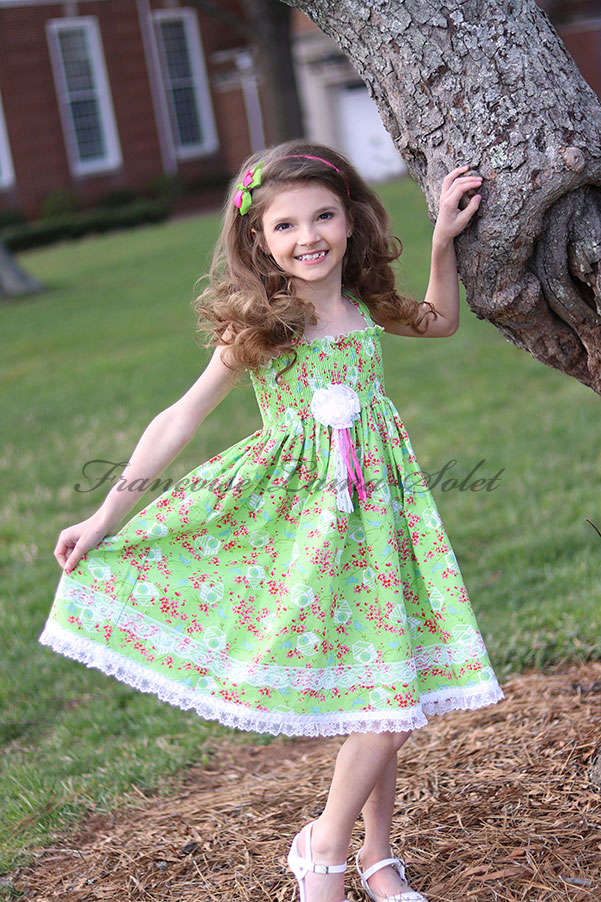 Girl's spring summer green floral birds twirl halter dress Spring