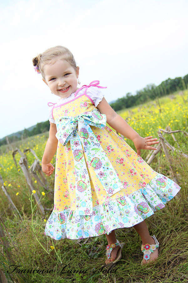 Girl's yellow Easter dress birthday twirl dress Romantic spring summer ruffled sundress Sunshine