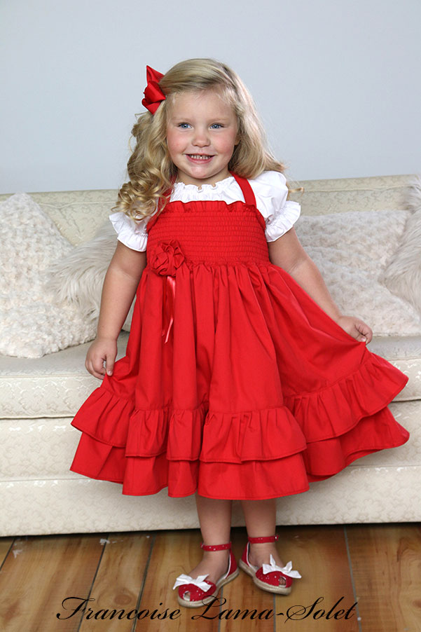 Girl's flower girl Christmas birthday portrait red ruffled twirl dress Sweet Grace