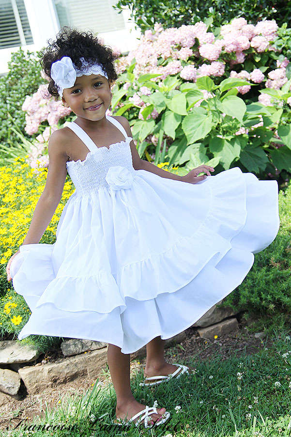 Girl's flower girl easter birthday portrait church white ruffled twirl dress Sweet Grace