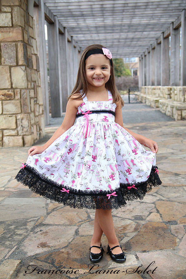 Girl's birthday tea party pink white black lace cupcake twirl dress with doll dress Tea Party in Paris