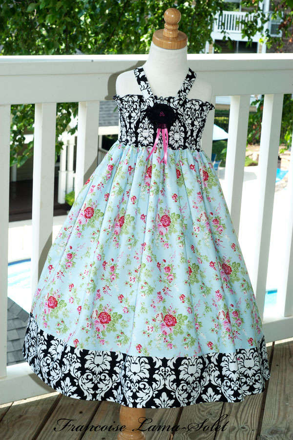 Girl's birthday tea party Easter blue black white twirl dress with roses and damask Tea Party