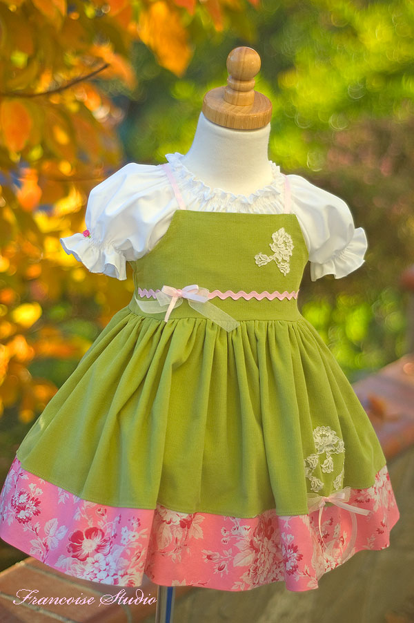 Girl's birthday easter green pink corduroy apron dress Tendresse
