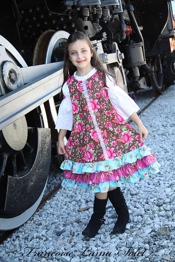 Girl's colorful one of a kind floral corduroy ruffled shift dress Voyage Bailey