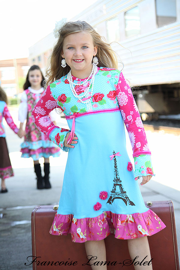 Girl's pink turquoise Paris Eiffel Tower floral long sleeve knit dress Voyage Makenzie