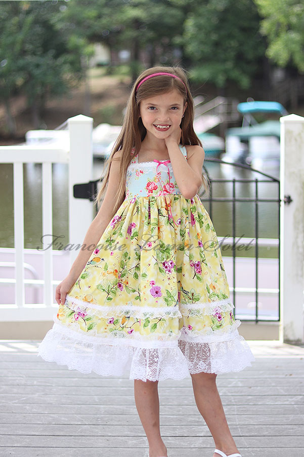 Girl's yellow blue pink lace trimmed floral birds birthday Easter tea party dress Watercolor
