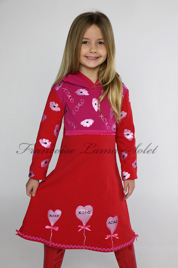 Red pink long sleeve jersey hoodie dress hand painted with hearts for Valentine's day and matching doll dress - Xoxo