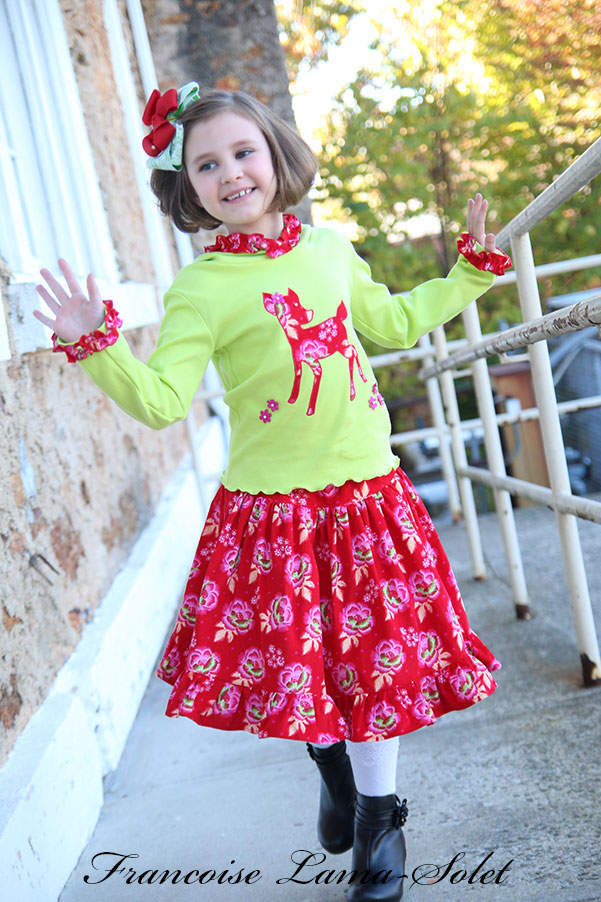 Girl's Fall Winter composed of a Christmas Holiday green pixie hood t-shirt and a red ruffled twirl skirt Dancing Deer Size 6