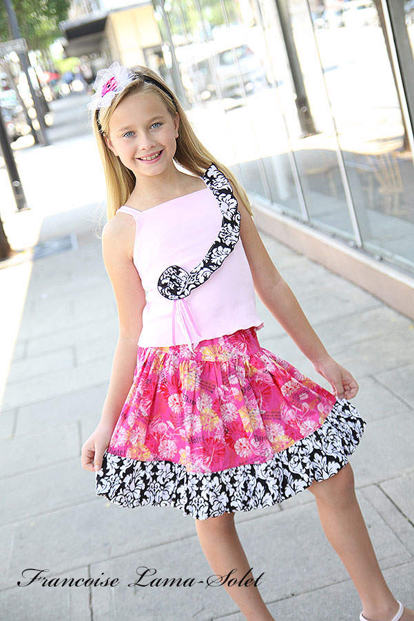 Girl's handmade modern pink and black tank top with floral ruffled twirl skirt Kentucky Derby Destiny