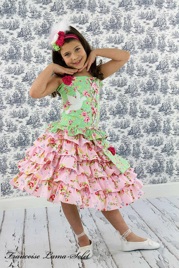 Girl's spring summer Easter pageant floral pink green halter top ruffled skirt outfit Peace