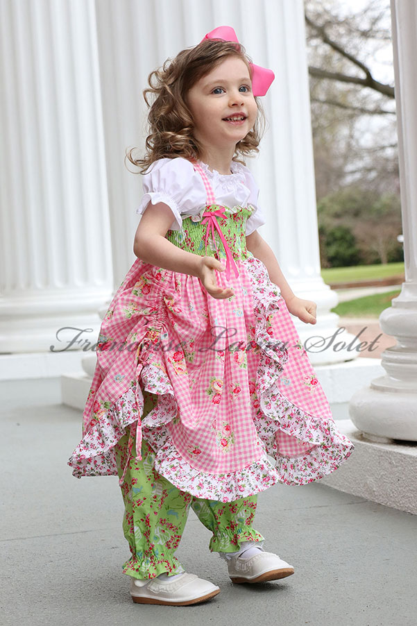 Girl's handmade floral outfit composed of a pink and green twirl dress and bubble pants Spring Time