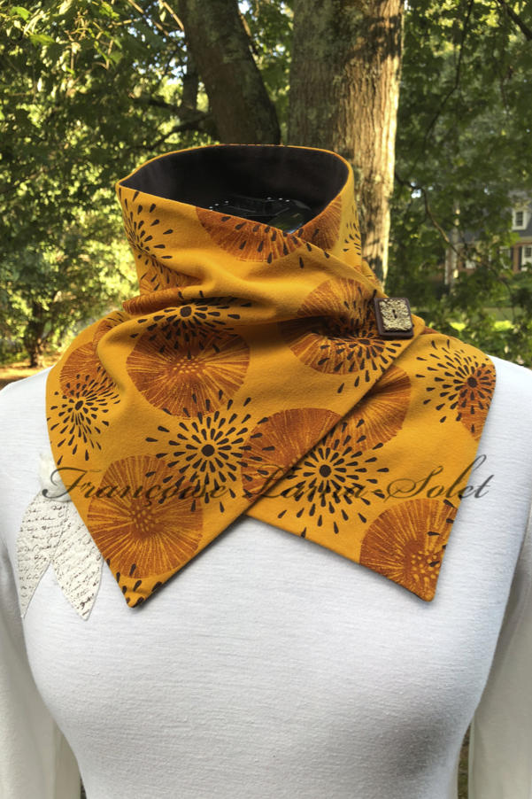 Artsy neck warmer button scarf handmade with yellow mustard cotton lycra jersey and hand printed with brown patterns - Amber