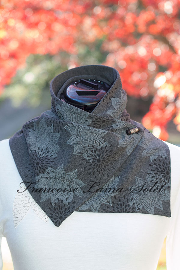 Womens artsy grey black lotus flower button scarf Cozy Winter