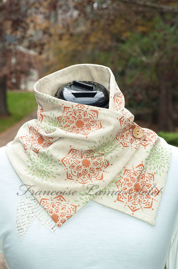 Women Artsy Earth Tone Mandala Neck Warmer Scarf Boho Chic Slow Fashion Earthy Mandala