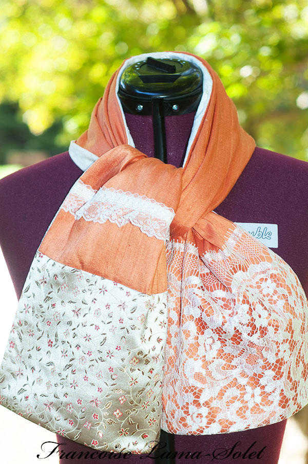 Women's elegant fall Thanksgiving pumpkin ivory silk lace velvet patchwork scarf Fall Elegance