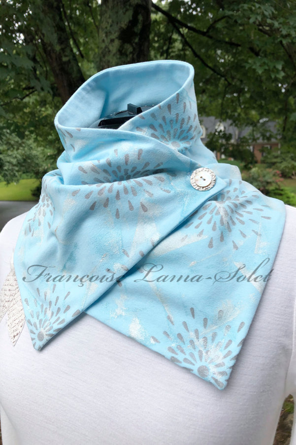 Button cowl scarf handmade with baby blue cotton jersey and hand printed with abstract pattern and silver grey stars - Glacier
