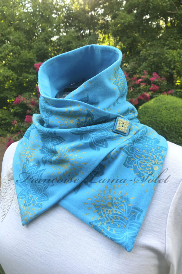 Artsy hand printed turquoise metallic gold women modern urban button scarf Lotus Flower Stars
