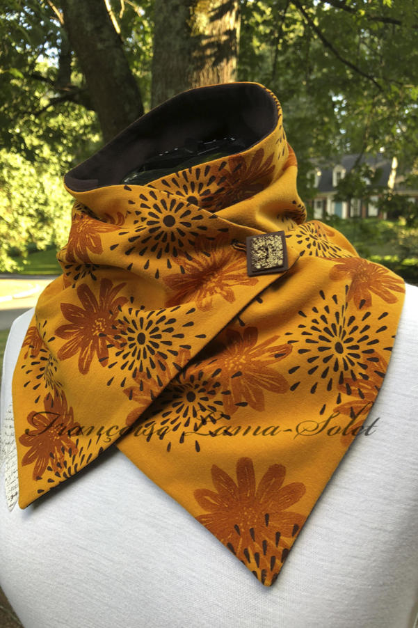 Art to wear button scarf handmade with yellow mustard cotton lycra jersey and hand printed with brown flowers and stars – Marigold Blossoms