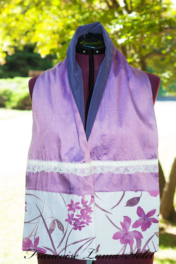 Women's elegant seasonless gift purple ivory patchwork silk linen floral scarf Purple Bouquet