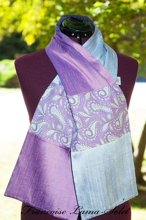 Women's elegant seasonless gift purple lavender patchwork paisley scarf Purple Patch