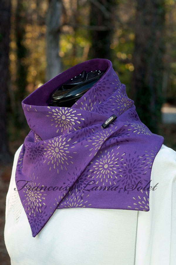 Womens modern unique urban art to wear button scarf Violet Citrine